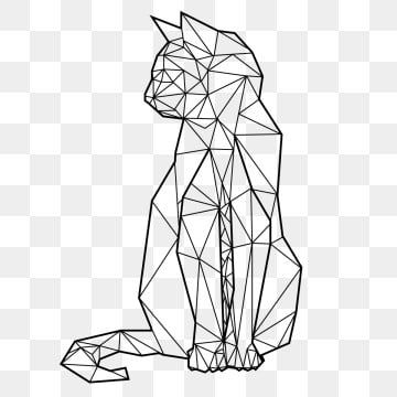 Geometric Cat Made With Lines Sitting Looking To The Side With The Tail Forward Line Animal Art Png Transparent Clipart Image And Psd File For Free Download Geometric Cat Geometric Lines