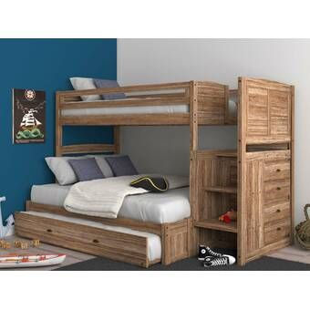 Orval Twin Over Full Bunk Bed With Trundle In 2020 Bunk Beds With Drawers Bunk Beds With Storage Bunk Bed With Trundle