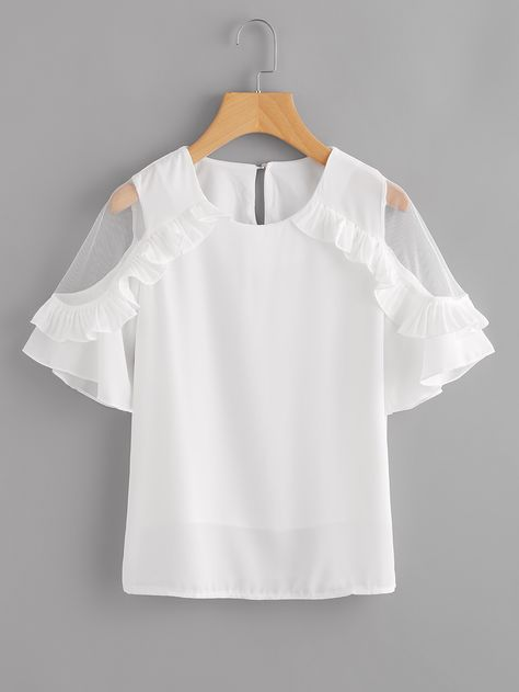 4af7287dd55 Shop Sheer Insert Frill Trim Blouse online. SheIn offers Sheer Insert Frill  Trim Blouse   more to fit your fashionable needs.