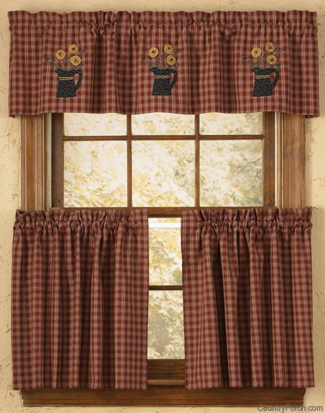 New Primitive Country Black Checked APPLIQUE ROOSTER Curtain Window Valance