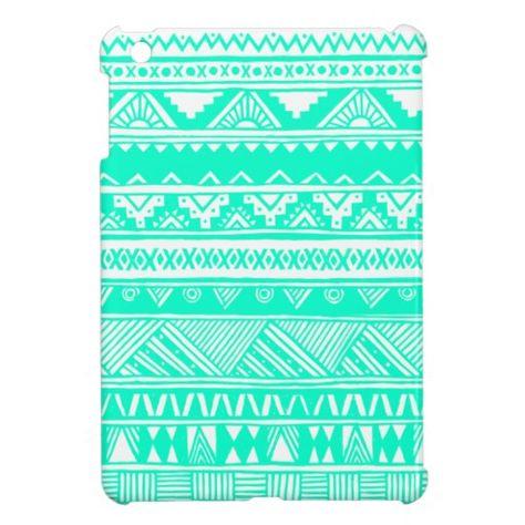 White Turquoise Girly Aztec Geometric Pattern iPad Mini Case