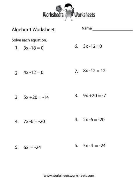 Algebra 1 Practice Worksheet Printable Algebra Worksheets School Algebra Printable Math Worksheets
