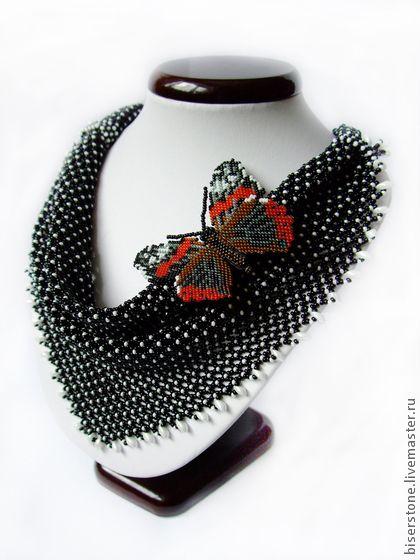 Fair Masters - handmade necklace - Klondike beaded brooch and