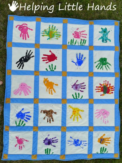 Pieces by Polly: Hand Print Animals Quilt