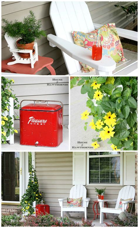 A fun summer porch with a bit of vintage decor - featuring Adirondack chairs, a vintage cooler and Black-eyed Susan vine. From House of Hawthornes.