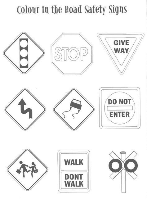 Coloring Pages Traffic Signs Road Safety Signs Traffic Signs Preschool Worksheets