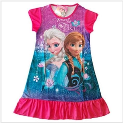 DISNEY STORE FROZEN PJ DRESS SISTERS ELSA ANNA PAJAMAS  SIZE 4 /& 5//6