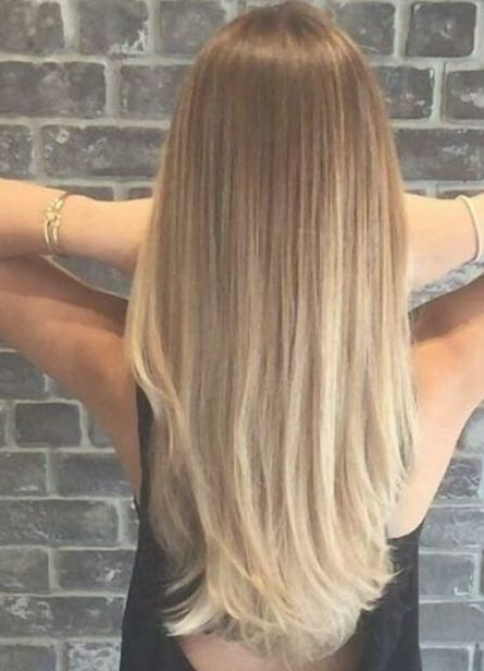 Lovely Brown To Blonde Hair Color On Long Straight Hair Balayage Straight Hair Straight Blonde Hair Blonde Light Brown Hair