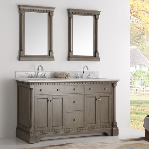 Fresca Kingston Antique Coffee 60 Inch Double Sink Bathroom Vanity