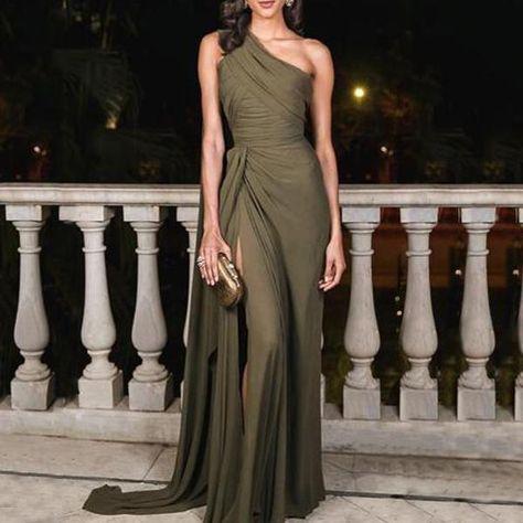 Sexy Plain Slim Off Shoulder Fork Evening Dress