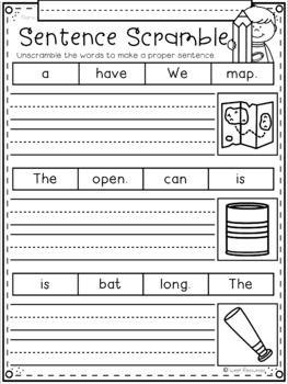 Phonics Sentence Scrambles for Kindergarten and First Grade First Grade Curriculum, First Grade Worksheets, Phonics Worksheets, School Worksheets, Kindergarten Worksheets, Comprehension Worksheets, Sentence Writing, Pre Writing, Writing Sentences