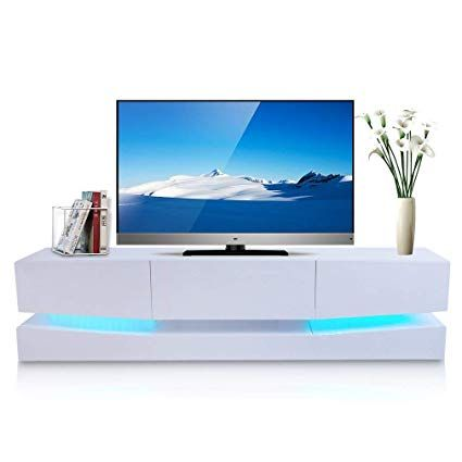 Homgrace High Gloss Tv Stand With Led Lights Modern Tv Stand With Open Shelf Storage Cabinet White 70 Modern Tv Stand Tv Stand With Led Lights Tv Stand Unit