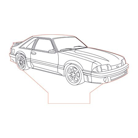 Ford Mustang Gt87 Foxbody 3d Illusion Lamp Plan Vector File