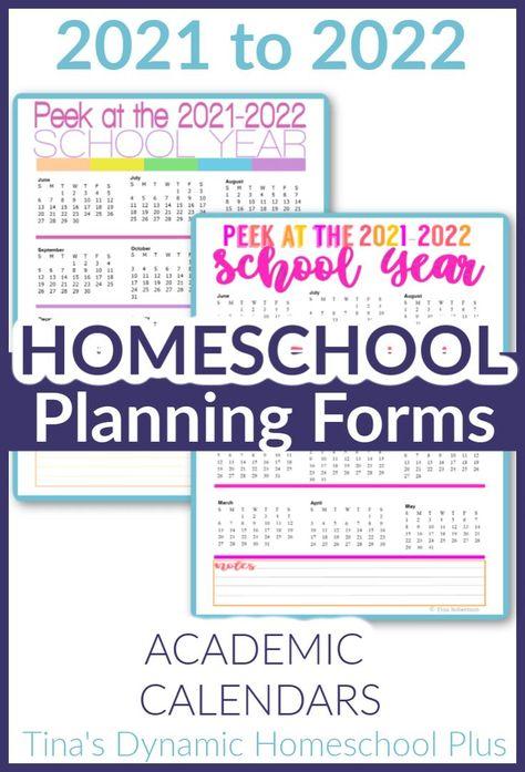 Free 2021 2022 Academic Calendars – Homeschool Planner | Academic
