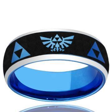 8mm Tungsten Brushed Blue Dome Celtic Mandalorian Boba Fett Engraved Ring