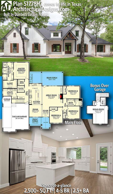 Plan 51778hz Open Concept 4 Bed Craftsman Home Plan With Bonus Over Garage Craftsman House Plans New House Plans Craftsman House