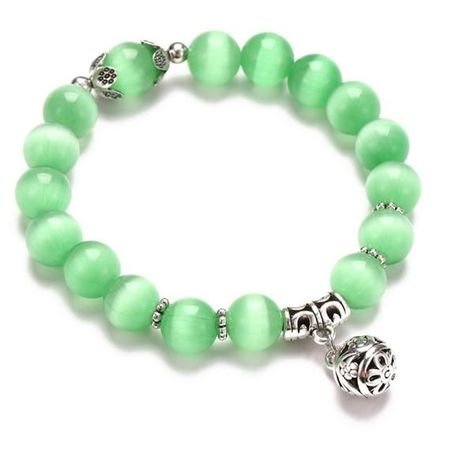 Dragonfly charm on beautiful beaded bracelet with aqua dyed crackle agate stone; bracelet for women