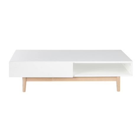 Table Basse Style Scandinave 2 Tiroirs Blanche Table Basse Style