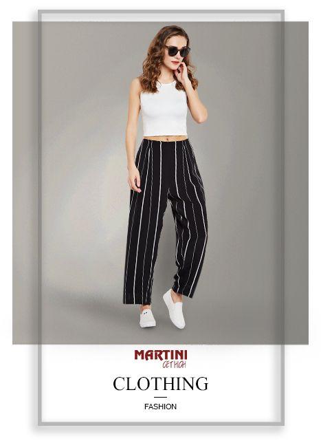 Black And White Stripe Wide Leg Pant Mymartini Westernwear Pant