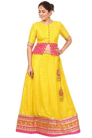 63fbdf2926d0c0 Sunshine Yellow Banarsi Lehenga Choli | Instagram ethnic websites