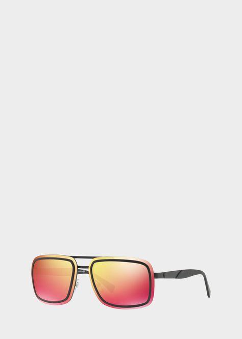 8b5e844bda8 Versace Red V-Wire Square Sunglasses for Men