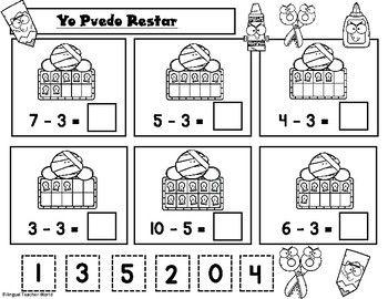 Spanish Math Worksheets Halloween Theme Halloween Math Halloween Math Worksheets First Grade Math Worksheets