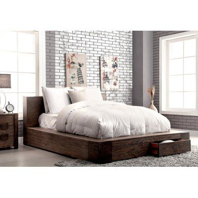 Arianna Storage Platform Bed Rustic Bedroom Furniture Bed With