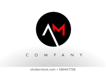 Am Logo Letter Design Vector With Red And Black Colors Logo