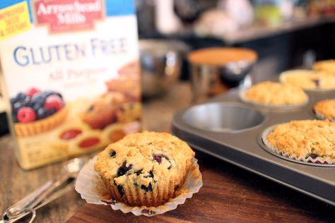 Our Gluten Free All Purpose Baking Mix makes Gluten Free Blueberry Muffins a breeze!