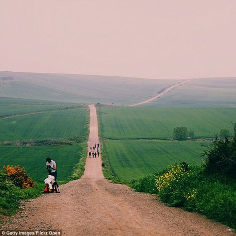 Holy path: Since Thiem went missing, and two men attempted to abduct a woman on the trail weeks later, travelers are being warned not to walk alone on a 15-mile stretch of the trail. Above a view of one stretch of the Camino de Santiago