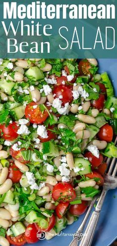 This easy white bean salad is a simple recipe loaded with bright Mediterranean flavors! Not your typical bean salad, it is a quick and easy lunch or prepare ahead as a dinner side. #beansalad #quickbeanrecipe #mediterraneanbeansalad #whitebeanrecipe #whitebeansalad