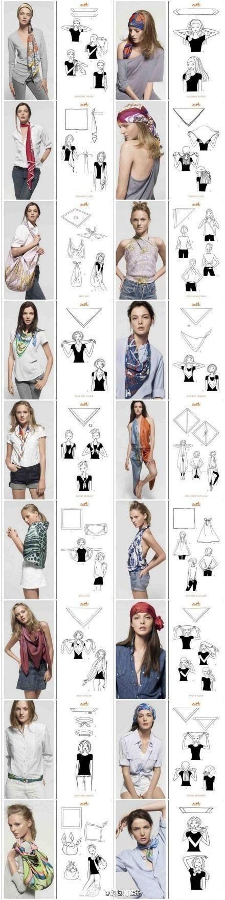 Découvrez comment porter le foulard de multi façons, astuces pour le nouer de manières originale chaque jour selon vos envies de mode, homme et femme.