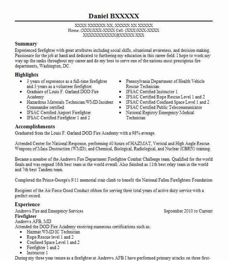Volunteer Firefighter Resume Resume Templates Pinterest   Fire Captain  Resume  Firefighter Resume Templates