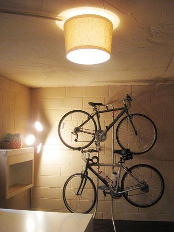 easy eye basement lighting. basement update hanging our bikes and adding a shade basements ceilings bulbs easy eye lighting pinterest