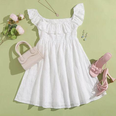 SHEIN Off Shoulder Ruffle Trim Schiffy Dress