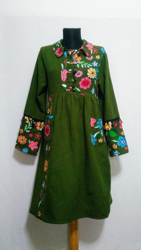 Haki yeşil otantik pazen elbise