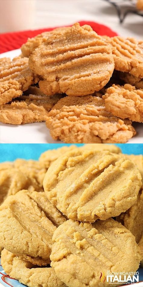 3 Ingredient Peanut Butter Cookies are soft, chewy and packed with peanut butter. This is the recipe that great grandma used to make and I am so excited to share it with you. Just stir scoop and bake. This simple recipe will be ready to go in the oven before it is done preheating! #peanutbuttercookies #3ingredient