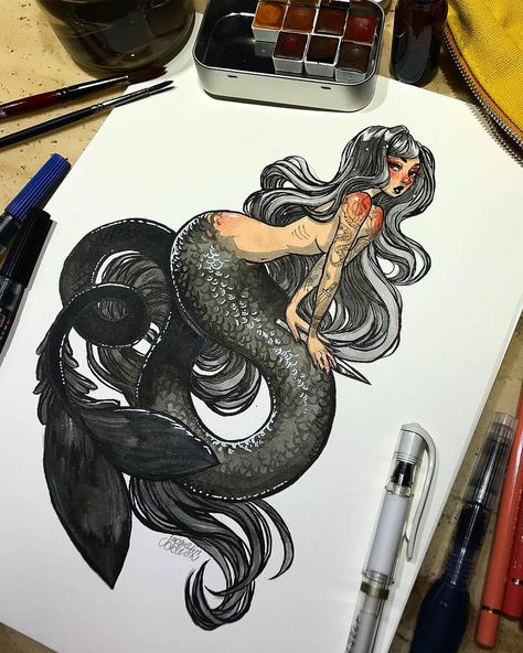 Here's the finished ink mermaid from the other day! I'm working on a few more🧜🏼♀️ Materials: @hushwingwatercolors Colonial Palette, @pentelofamerica aquash brush pen, pentel pocket brush pen,...