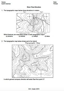 Pinterest Direction Of River Flow On Topographic Map on