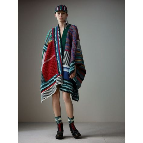 Cashmere Wool Blend Patchwork Poncho
