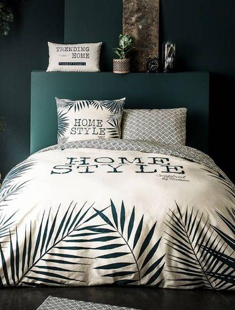 dbc33a51f95 Juego de cama doble con estampado de hojas BLANCO Hogar- Kiabi