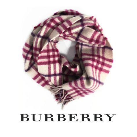 b7ae538df3cf Burberry Pink 100% Cashmere Plaid Scarf  198