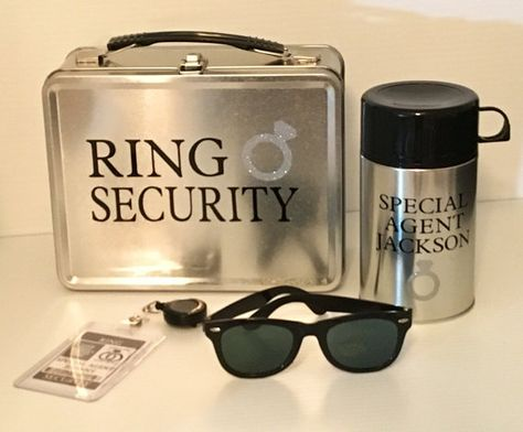 awesome Deluxe Ring Security Box Set - W/ Personalized Sunglasses, Security Badge, Thermos (Ring Bearer Pillow Alternative) Security Badge, Ring Bearer Security, Ring Security Wedding, Ring Bearer Gifts, Ring Bearer Ideas, Big Wedding Rings, Dream Wedding, Ring Pillow, Ring Bearer Pillows
