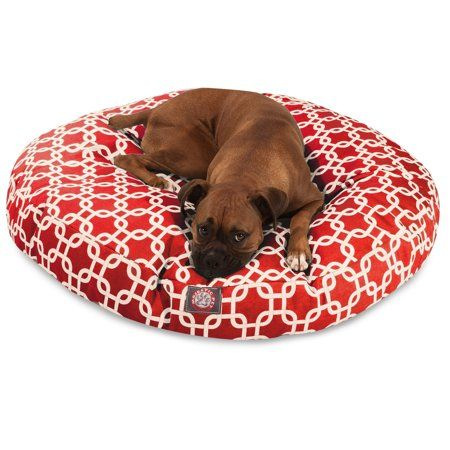 Majestic Pet Links Round Dog Bed Treated Polyester Removable Cover Red Large 42 X 42 X 5 Walmart Com In 2021 Dog Pet Beds Round Dog Bed Dog Bed Large