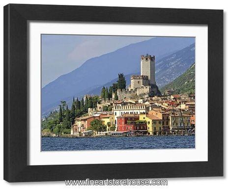 Print of Townscape with Lake Garda, Malcesine, Verona province, Veneto, Italy