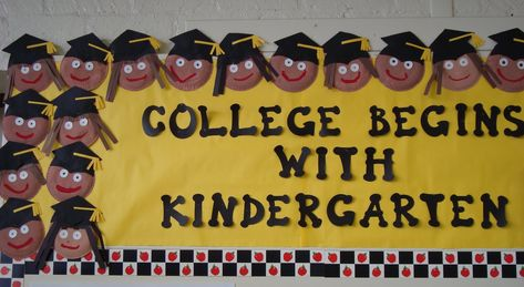 Bulletin board promoting college to kindergartners