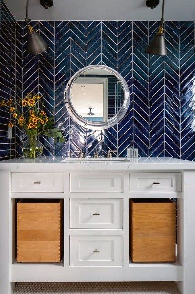 Top 70 Best Bathroom Backsplash Ideas Sink Wall Designs Bathroom Backsplash Dark Blue Bathrooms Amazing Bathrooms