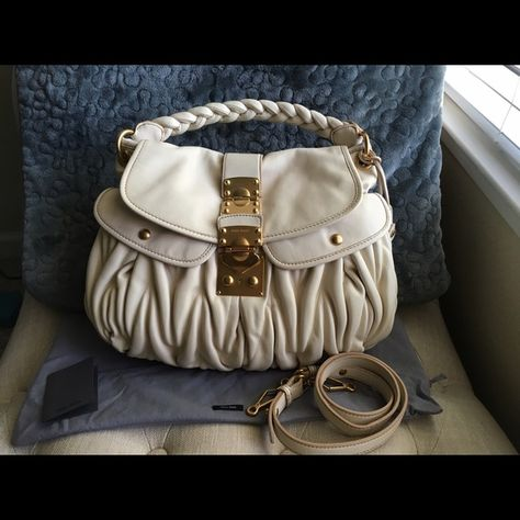 a5220df692d3 Authentic Miu Miu Matelasse Coffer Satchel This bag is in excellent  condition. It has never been used. The only flaw I see is a slight  discoloration where ...
