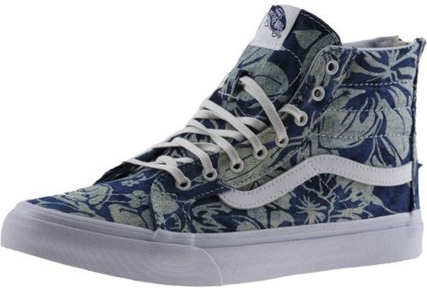 8615f19634 Vans Sk8-Hi Slim Zip Indigo Tropical Blue   True White High-Top Canvas Skateboarding  Shoe - 9.5M   8M