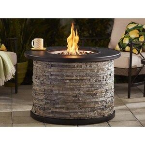 Allen Roth 36 In Faux Stone Lp Gas Fire Pit At Lowes Com Steel